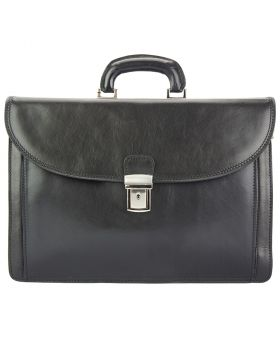 Beniamino Leather Business Briefcase - Black