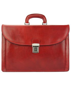 Beniamino Leather Business Briefcase - Red