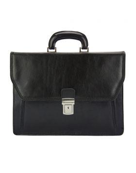 Corrado Leather Briefcase - Black