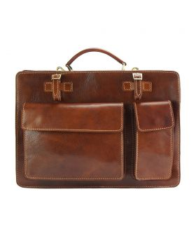Daniele leather Briefcase - Brown