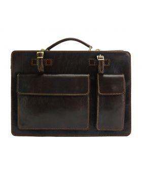 Daniele leather Briefcase - Dark Brown