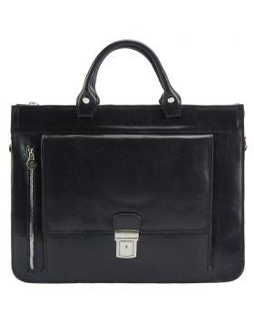 Donato leather Briefcase -Black