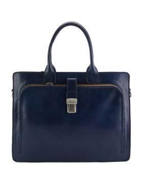 Giacinto leather business bag - Blue