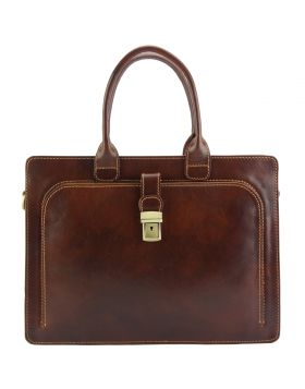 Giacinto leather business bag - Brown
