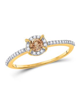 10kt Yellow Gold Womens Round Brown Diamond Solitaire Bridal Wedding Engagement Ring 1/3 Cttw