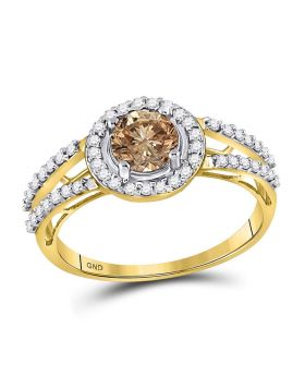 10kt Yellow Gold Womens Round Brown Diamond Solitaire Bridal Wedding Engagement Ring 1.00 Cttw