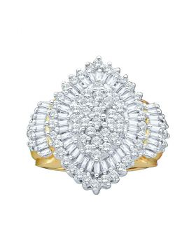 10kt Yellow Gold Womens Round Diamond Oval Cluster Ring 2.00 Cttw
