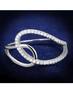 TS358-5 - 925 Sterling Silver Rhodium Ring AAA Grade CZ Clear