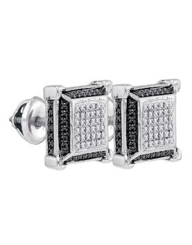 Sterling Silver Unisex Round Diamond Cluster 3D Square Black Earrings 1/10 Cttw