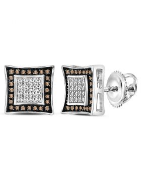 Sterling Silver Unisex Round Brown Diamond Square Stud Earrings 1/20 Cttw