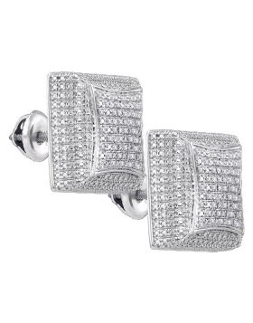 Sterling Silver Unisex Round Diamond Square Dome Cluster Earrings 1/5 Cttw