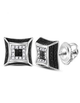 Sterling Silver Unisex Round Diamond Cluster Square 3D Black Earrings 1/20 Cttw