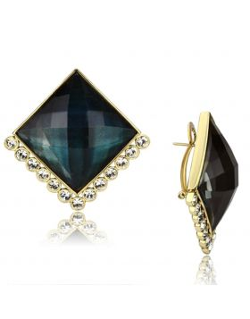 VL064 - Brass IP Gold(Ion Plating) Earrings Synthetic Tanzanite