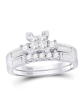 10kt White Gold Womens Princess Diamond Bridal Wedding Engagement Ring Band Set 1/2 Cttw - Size 8