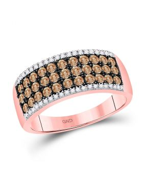 14kt Rose Gold Womens Round Brown Diamond Band Ring 1.00 Cttw