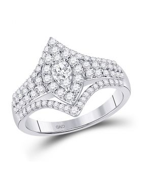 14kt White Gold Womens Round Diamond Oval Cluster Bridal Wedding Engagement Ring 1.00 Cttw