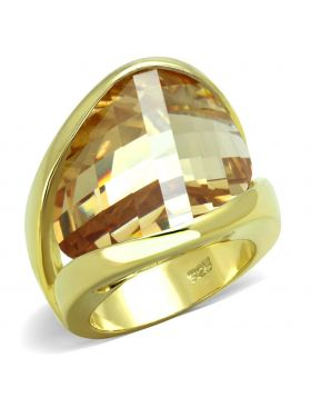Ring,925 Sterling Silver,Gold,AAA Grade CZ,Champagne