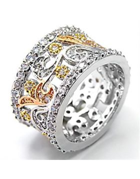 Ring Brass Tricolor AAA Grade CZ Clear