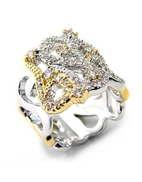 Ring Brass Reverse Two-Tone AAA Grade CZ Clear