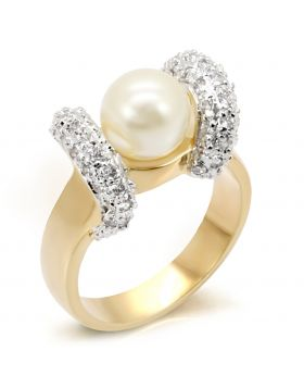 Ring Brass Gold+Rhodium Synthetic White Pearl
