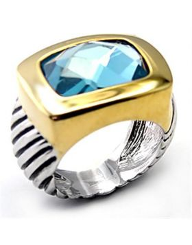 Ring Brass Reverse Two-Tone Semi-Precious London Blue Spinel