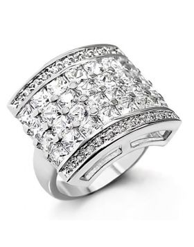 Ring Brass Rhodium AAA Grade CZ Clear