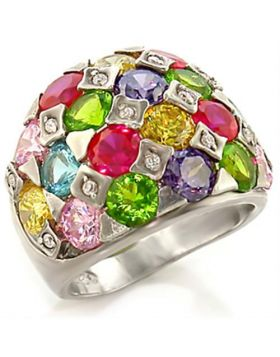 Ring Brass Rhodium AAA Grade CZ Multi Color