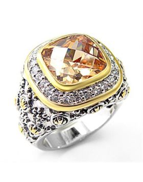 Ring 925 Sterling Silver Reverse Two-Tone AAA Grade CZ Champagne