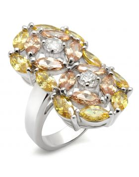 Ring 925 Sterling Silver Rhodium AAA Grade CZ Multi Color
