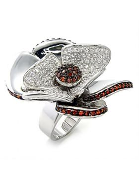 Ring 925 Sterling Silver Rhodium + Ruthenium AAA Grade CZ Garnet
