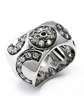 Ring 925 Sterling Silver Rhodium + Ruthenium AAA Grade CZ Clear