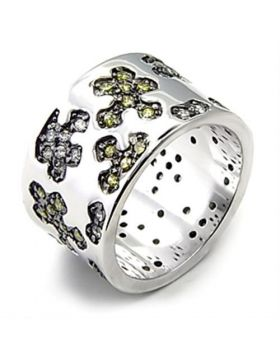 Ring 925 Sterling Silver Rhodium + Ruthenium AAA Grade CZ Olivine color