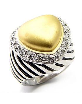 Ring 925 Sterling Silver Matte Gold & Rhodium AAA Grade CZ Clear