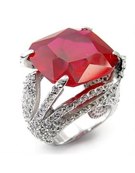 Ring 925 Sterling Silver Rhodium Synthetic Ruby Garnet
