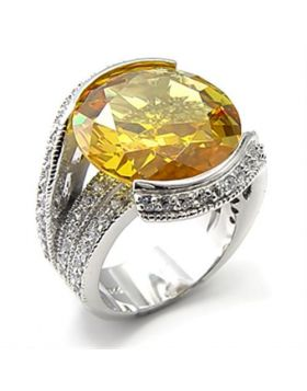 Ring 925 Sterling Silver Rhodium AAA Grade CZ Topaz