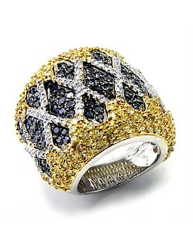 Ring 925 Sterling Silver Rhodium+Gold+ Ruthenium AAA Grade CZ Multi Color