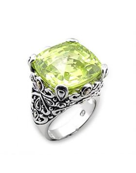 Ring 925 Sterling Silver Reverse Two-Tone AAA Grade CZ Apple Green color