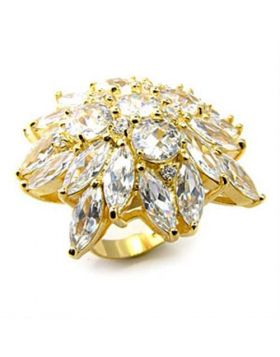 Ring 925 Sterling Silver Gold AAA Grade CZ Clear