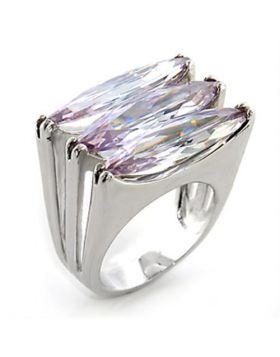 Ring Brass Rhodium AAA Grade CZ Light Amethyst