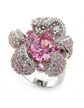 Ring Brass Rhodium AAA Grade CZ Rose