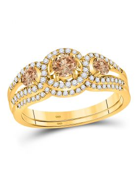 14kt Yellow Gold Womens Round Brown Diamond Bridal Wedding Engagement Ring Band Set 1.00 Cttw