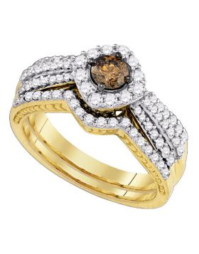 14kt Yellow Gold Womens Brown Diamond Bridal Wedding Engagement Ring Band Set 1.00 Cttw