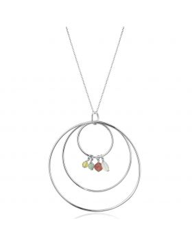 LOS795-14 - 925 Sterling Silver Silver Necklace Synthetic Multi Color