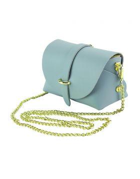 Martina Mini leather bag - Cyan