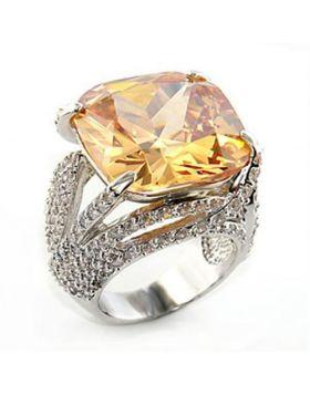 Ring Brass Rhodium AAA Grade CZ Champagne