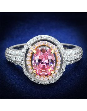 TS543-5 - 925 Sterling Silver Rose Gold + Rhodium Ring AAA Grade CZ Rose