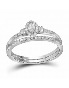 10k White Gold Womens Marquise Diamond Bridal Wedding Engagement Ring Band Set 1/5 Cttw