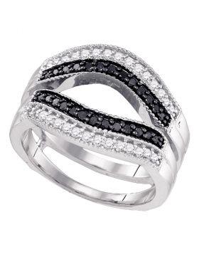 10kt White Gold Womens Round Black Color Enhanced Diamond Ring Guard Wrap Solitaire Enhancer 1/2 Cttw