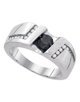 Sterling Silver Unisex Round Black Color Enhanced Diamond Solitaire Wedding Band Ring 1.00 Cttw