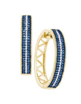 10kt Yellow Gold Womens Round Blue Color Enhanced Diamond Hoop Earrings 1/2 Cttw